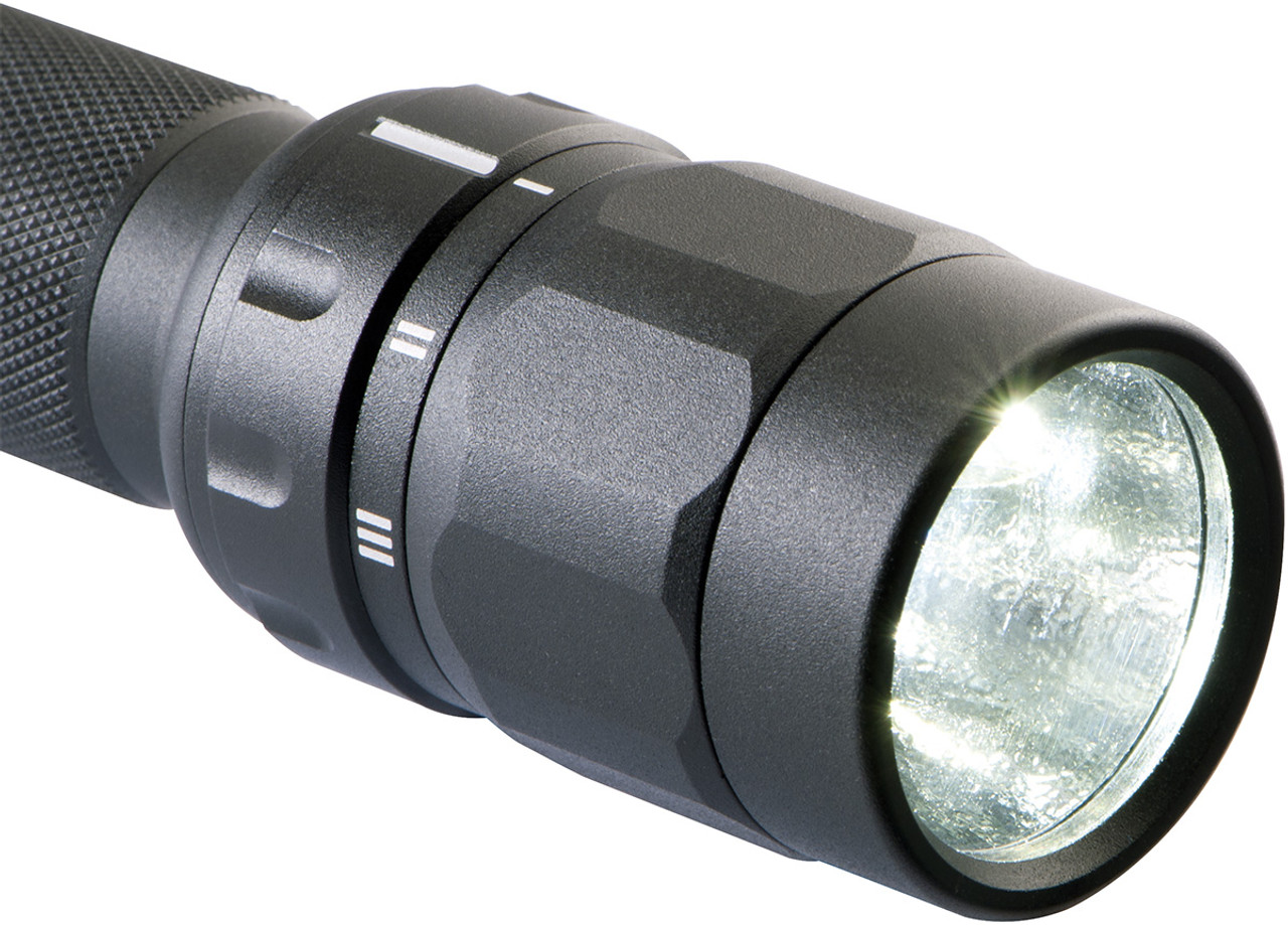 Pelican Tactical LED Flashlight, With 2 AA Batteries Included, 3 modes:  High / Strobe / Low, 3 LED Colors, Black 2370