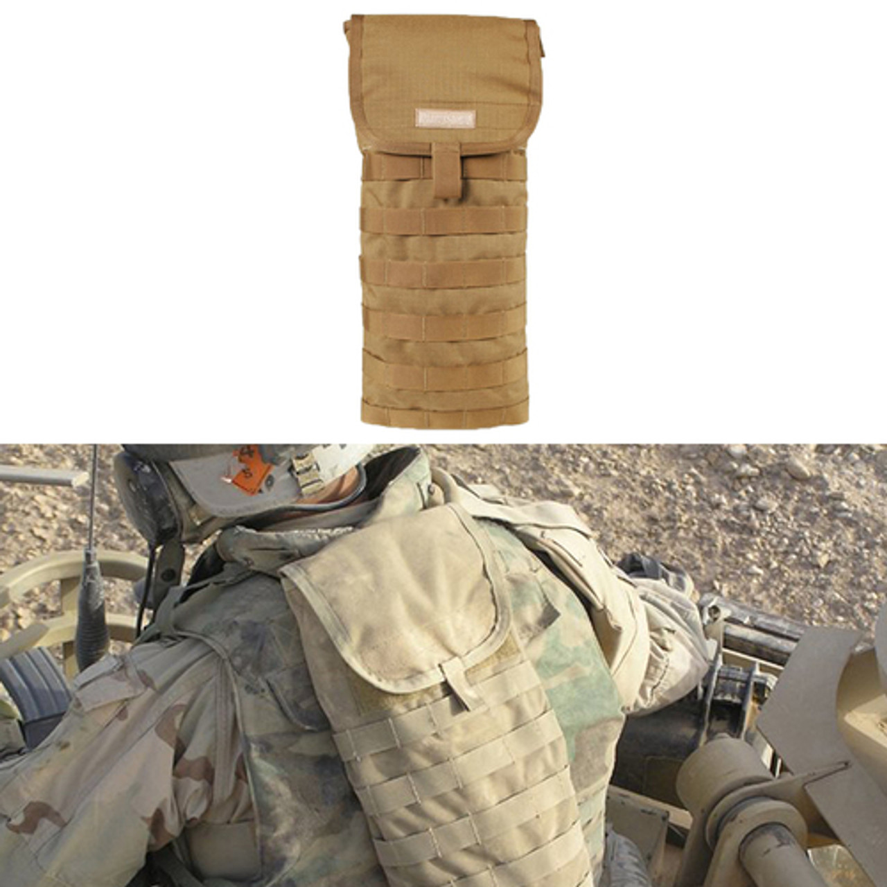 BLACKHAWK S.T.R.I.K.E. HYDRATION SYSTEM CARRIER, Accommodates 100-oz hydration reservoir , S.T.R.I.K.E. webbing for attacking pouches or accessories, Coyote Tan, 38CL37CT