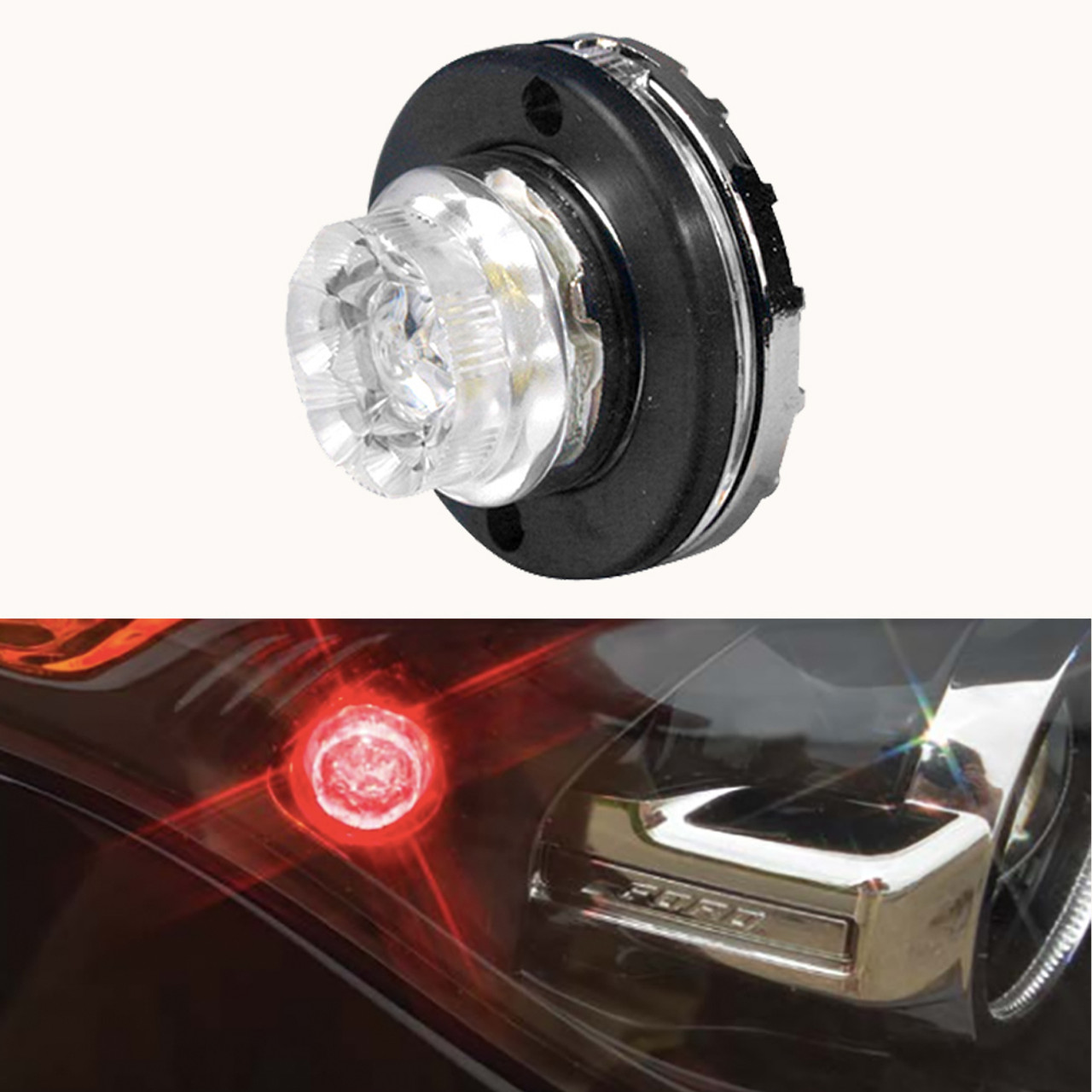 SoundOff Signal Undercover Hide Away Corner LED Inserts, for Tail-Lights, Headlights, or optional surface flush mount, screw-in, universal, 10 or 25 ft cable, ELUC3H0