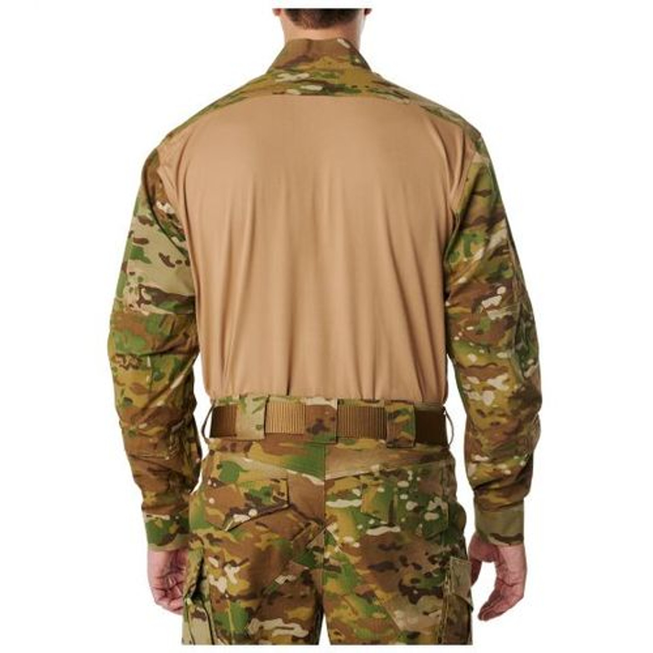 5.11 Tactical 72481 MEN'S 5.11 STRYKE® TDU®, Pullover, Long Sleeve Baselayer Uniform Shirt, 87% polyester / 13% Spandex, 1/4 Zip, Badge tab, Sleeve Pocket, Tan/MultiCam
