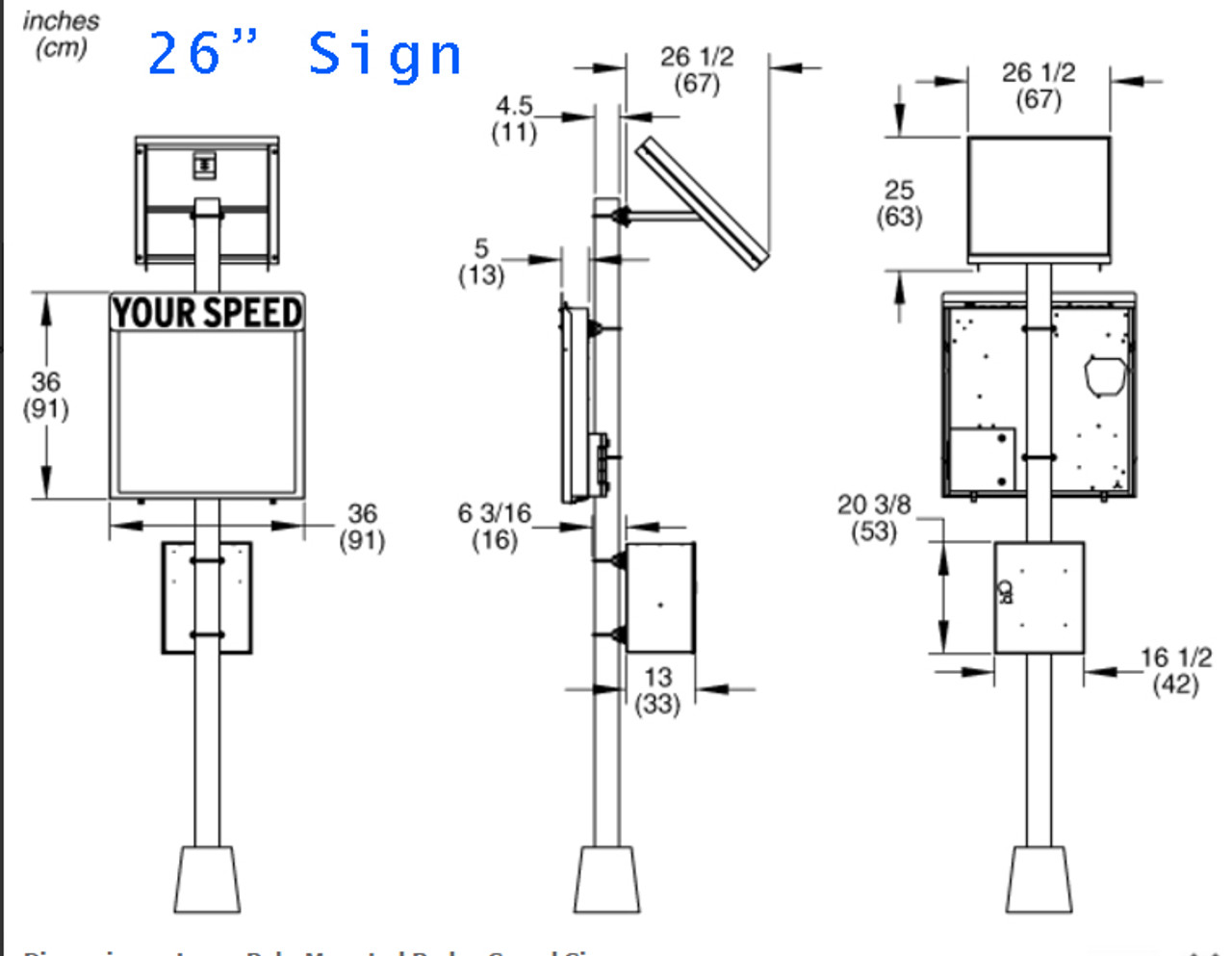 Pole Mount Radar Sd Signs by WANCO, AC or Solar Powered IN STOCK on