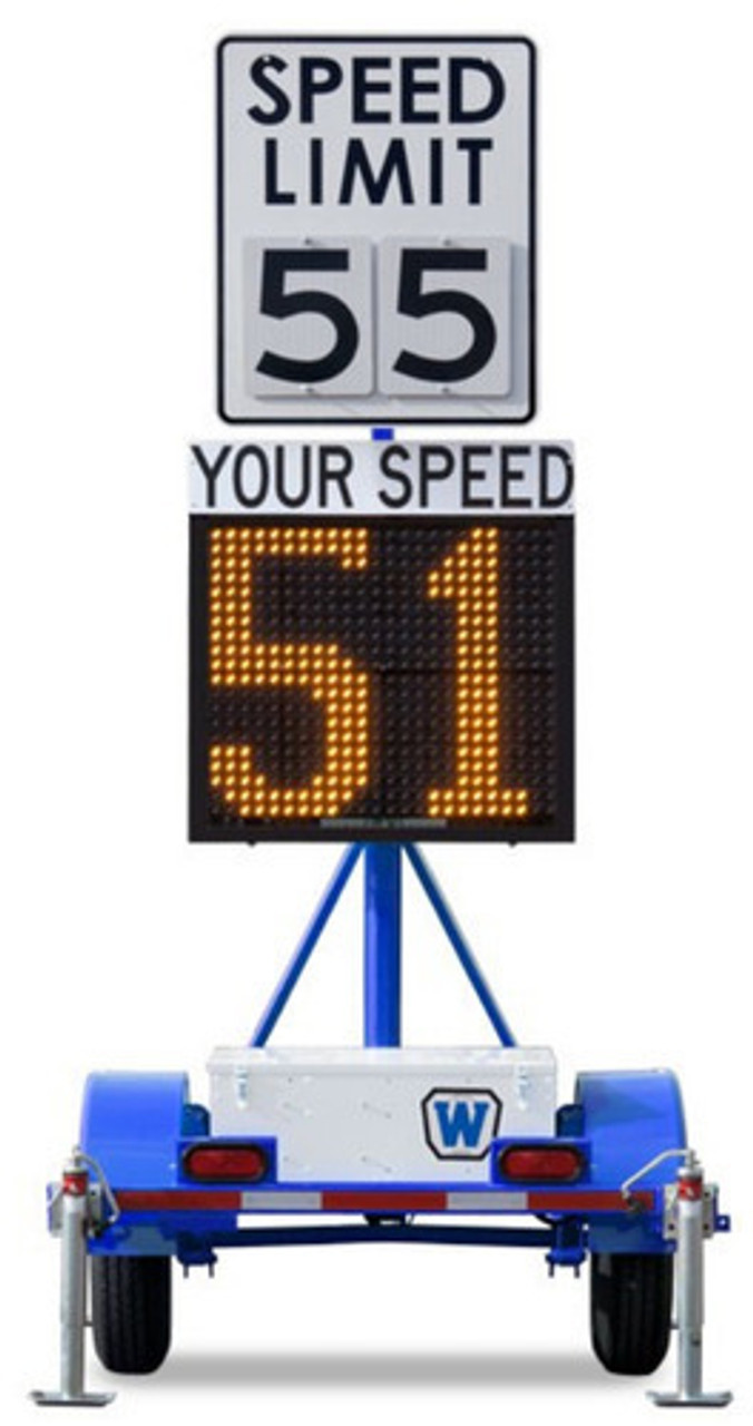 Wanco WSDT3-S Radar Speed Sign Trailer, Battery Powered and Solar Charging, 26-inch LED Characters