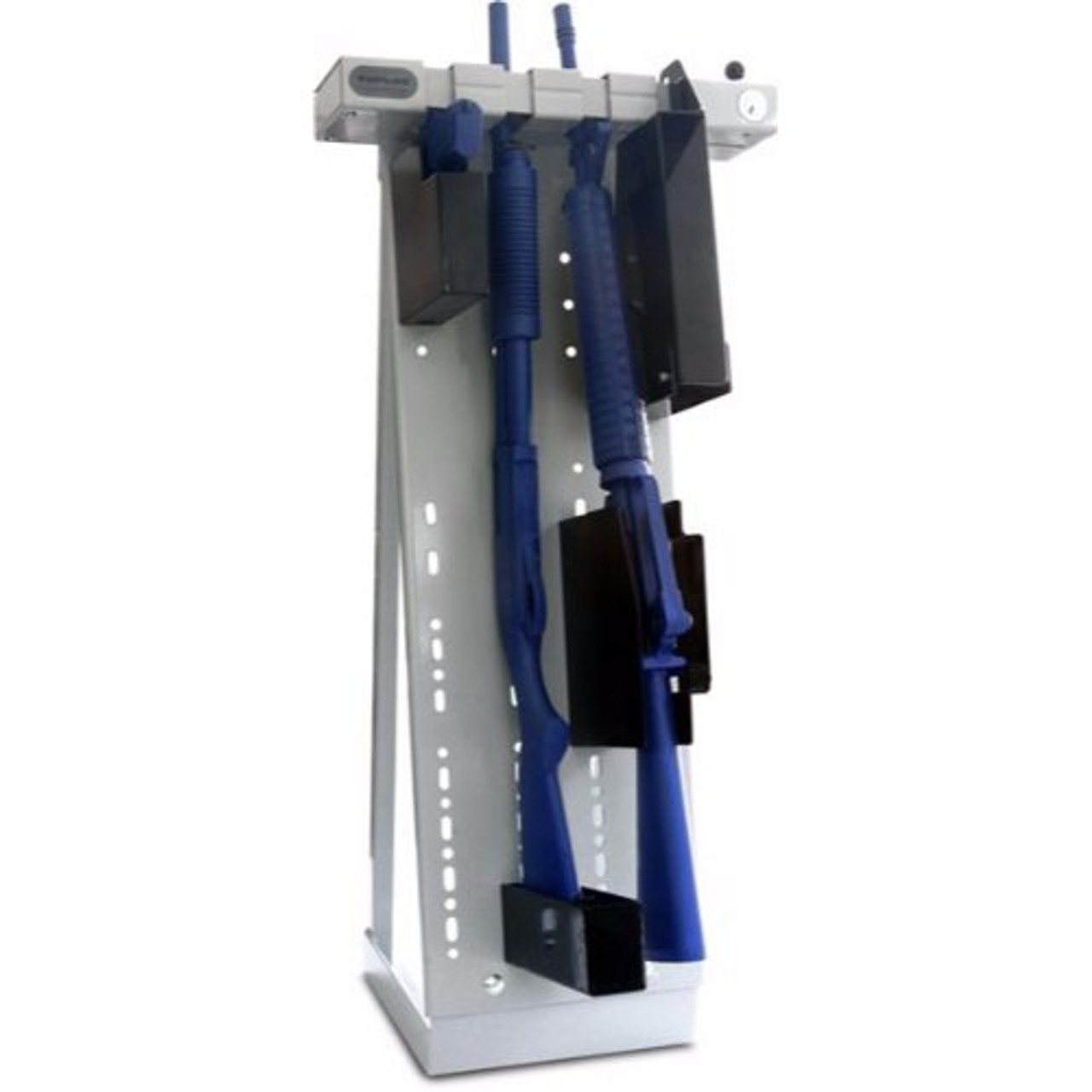 Tufloc 72-100  Quad Rack with LONG BACK PLATE, mounts to any wall or surface, holds up to 4 Guns, AR15, Handgun, Rifle, Shotgun, 47x19x5, Powder-Coated Steel, with optional vertical stand, Lockable