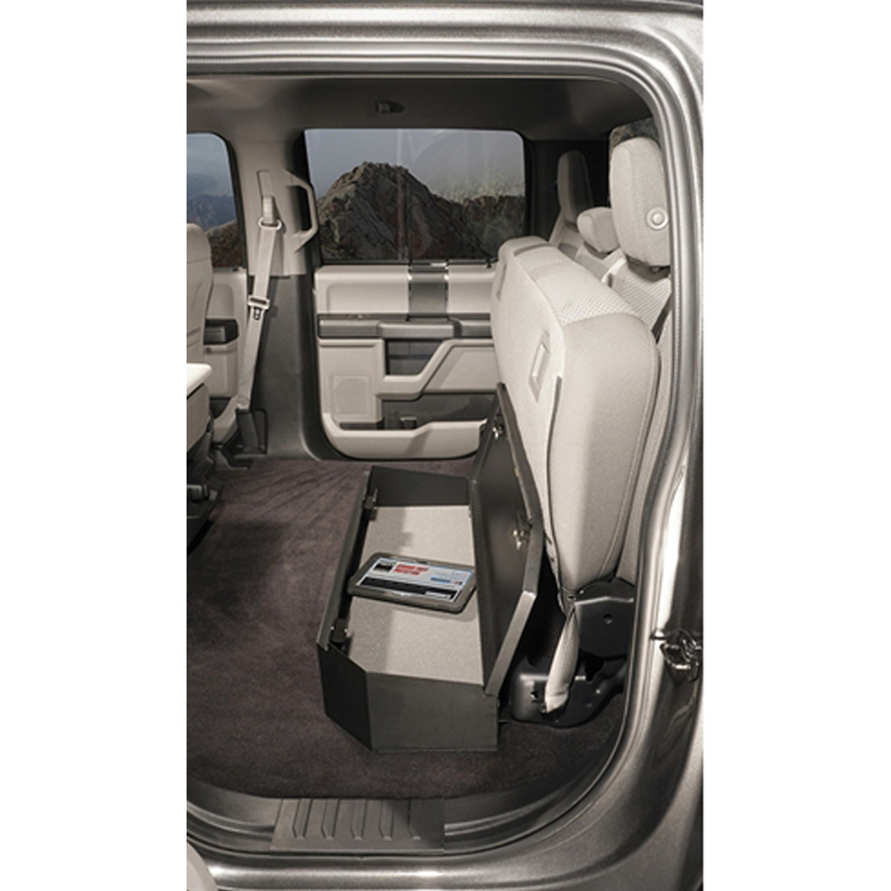Tuffy Security 344-01 Ford F-Series SuperCrew CrewCab, 2015+ Under Rear 60 Percent Bench Seat Lock Box, 37x13x8,  Weather Resistant, Welded 16 Gauge steel construction, Durable texture powder coat finish