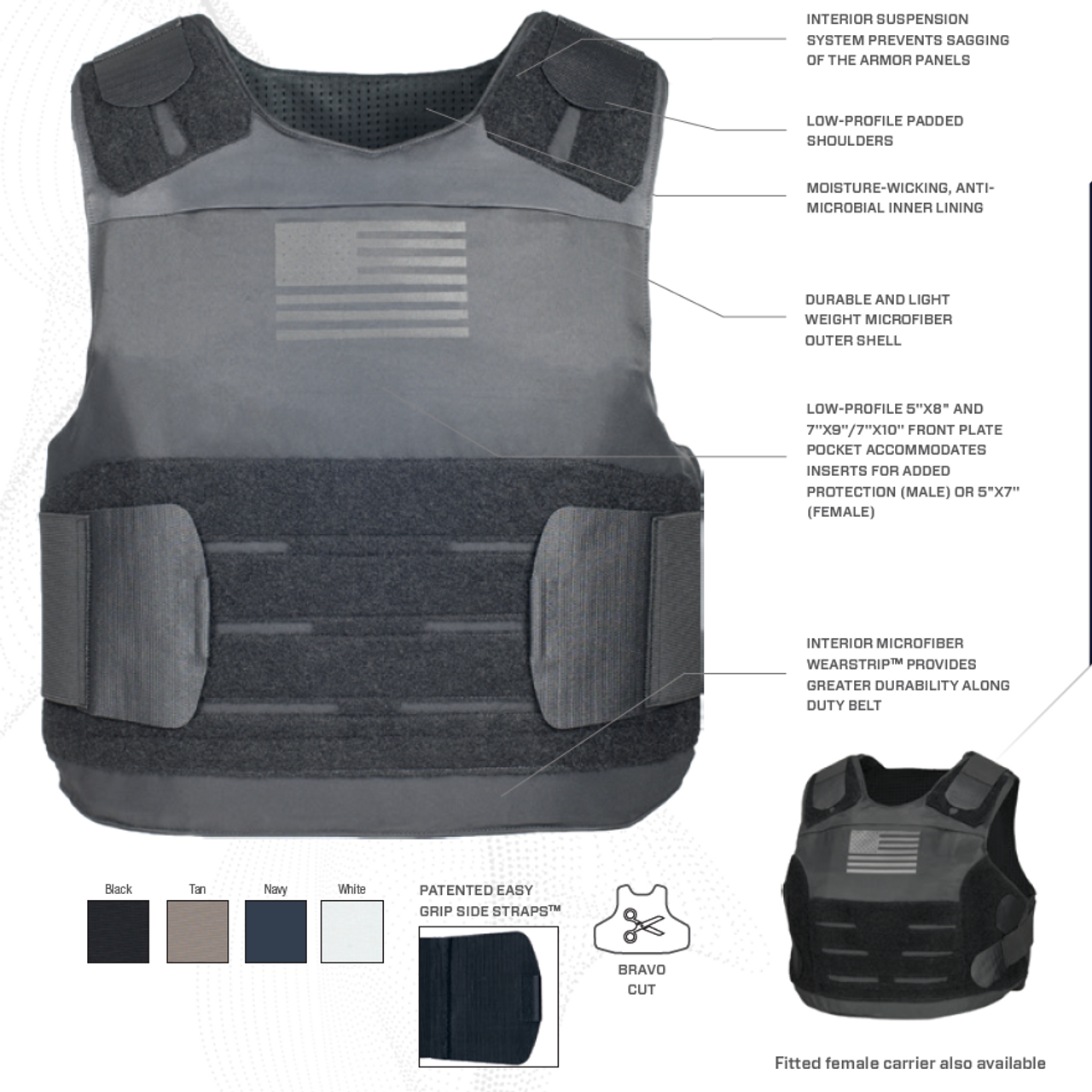 Armor Express ® American Revolution Men's Concealable Ballistic Body Armor  Carrier, Choose Carrier only or Carrier and Plates, NIJ Certified - Level