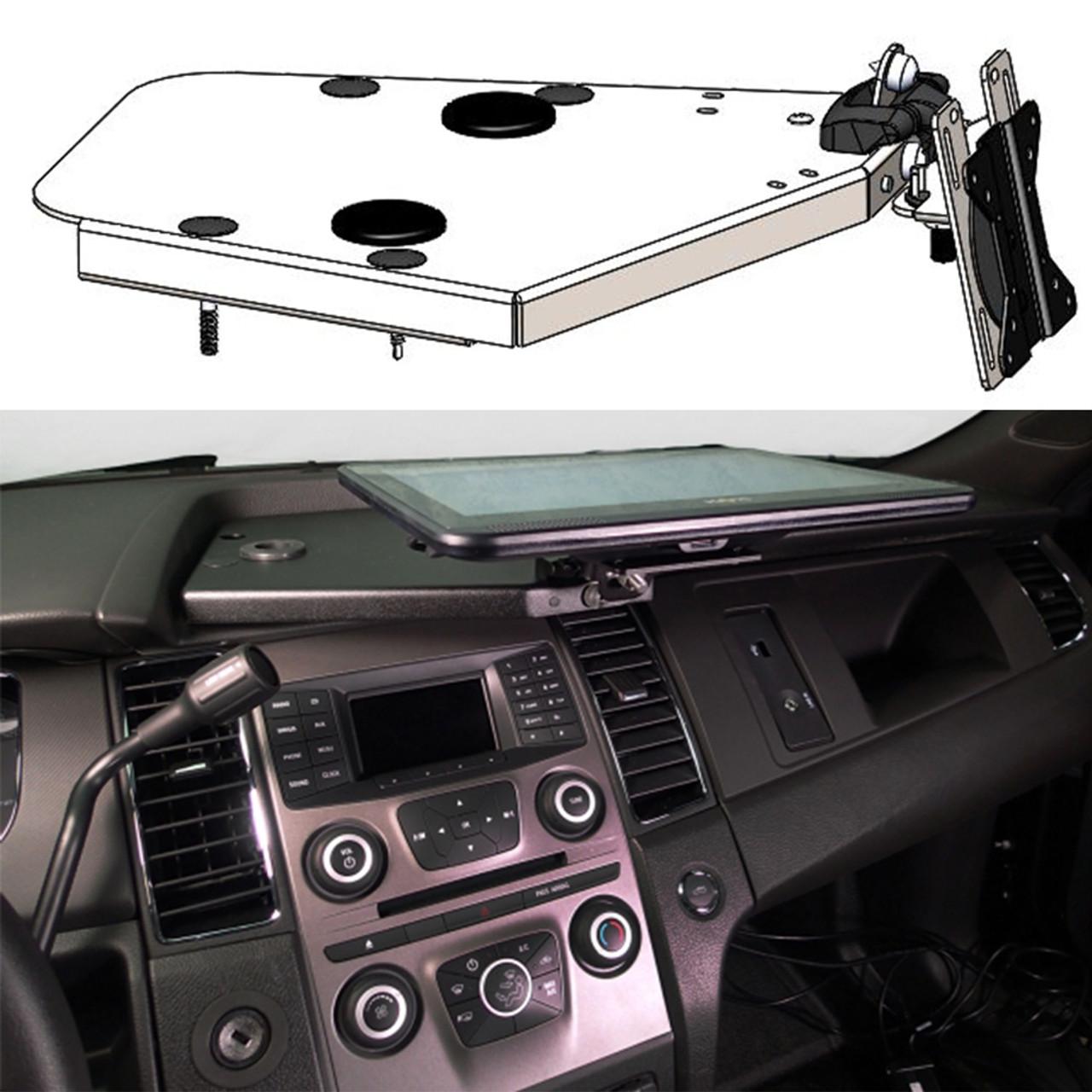 Havis C-DMM-2002 Dashboard Monitor or Tablet Mount for 2013-2019 Ford Law Enforcement Interceptor Sedan,  Landscape or Portrait Applications with Tilt Swivel Motion for Left, Right, Up and Down Positioning