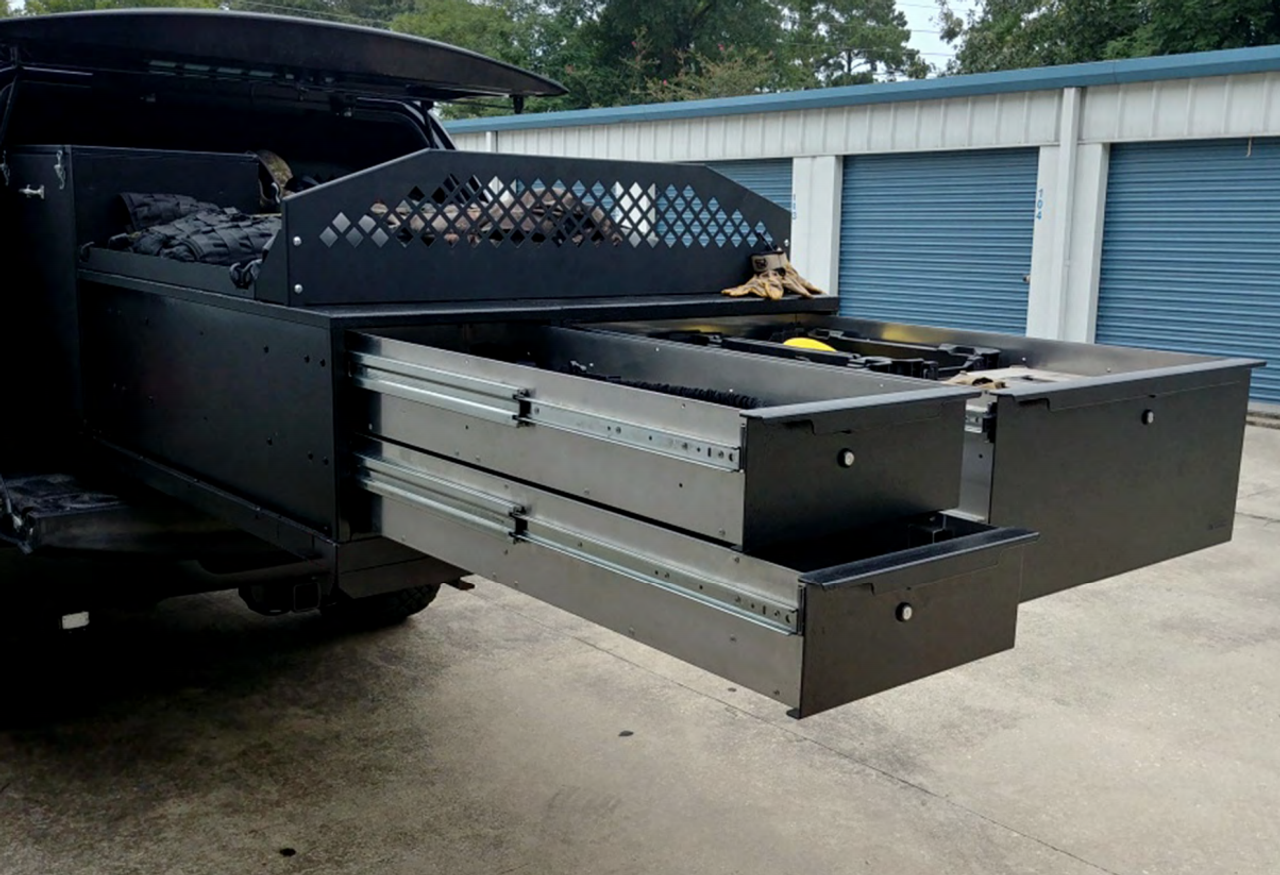 OPS Bomb Squad Pickup Truck, Large SUV, Van Storage Cabinets and Slide-Out Package, Multiple Aluminum Drawers, Removable Whiteboard, ATF Type 3 Explosive Cabinet, Robot Tie-Downs, Fits Ford, Chevy, Dodge, and more, OP-TDU-30-48-72-701