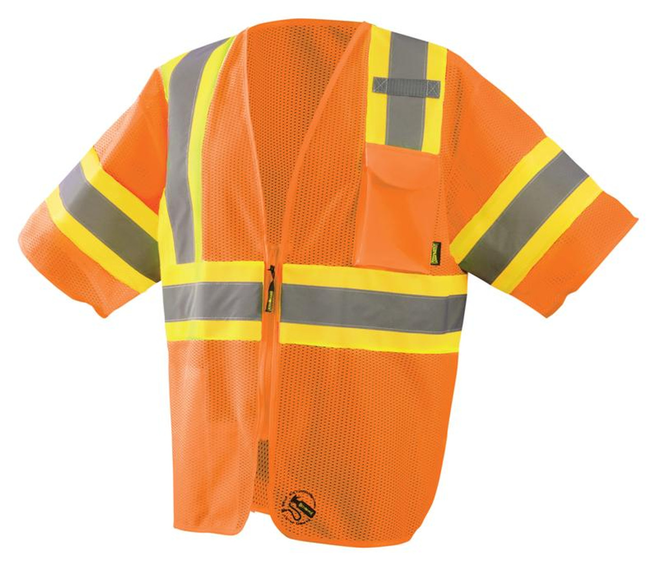 Occunomix TSE-IMZ32T Self Extinguishing Class 3 Two-Tone Vest with 2 inch silver reflective flame resistant tape, 1 chest pocket, available in Yellow and Orange