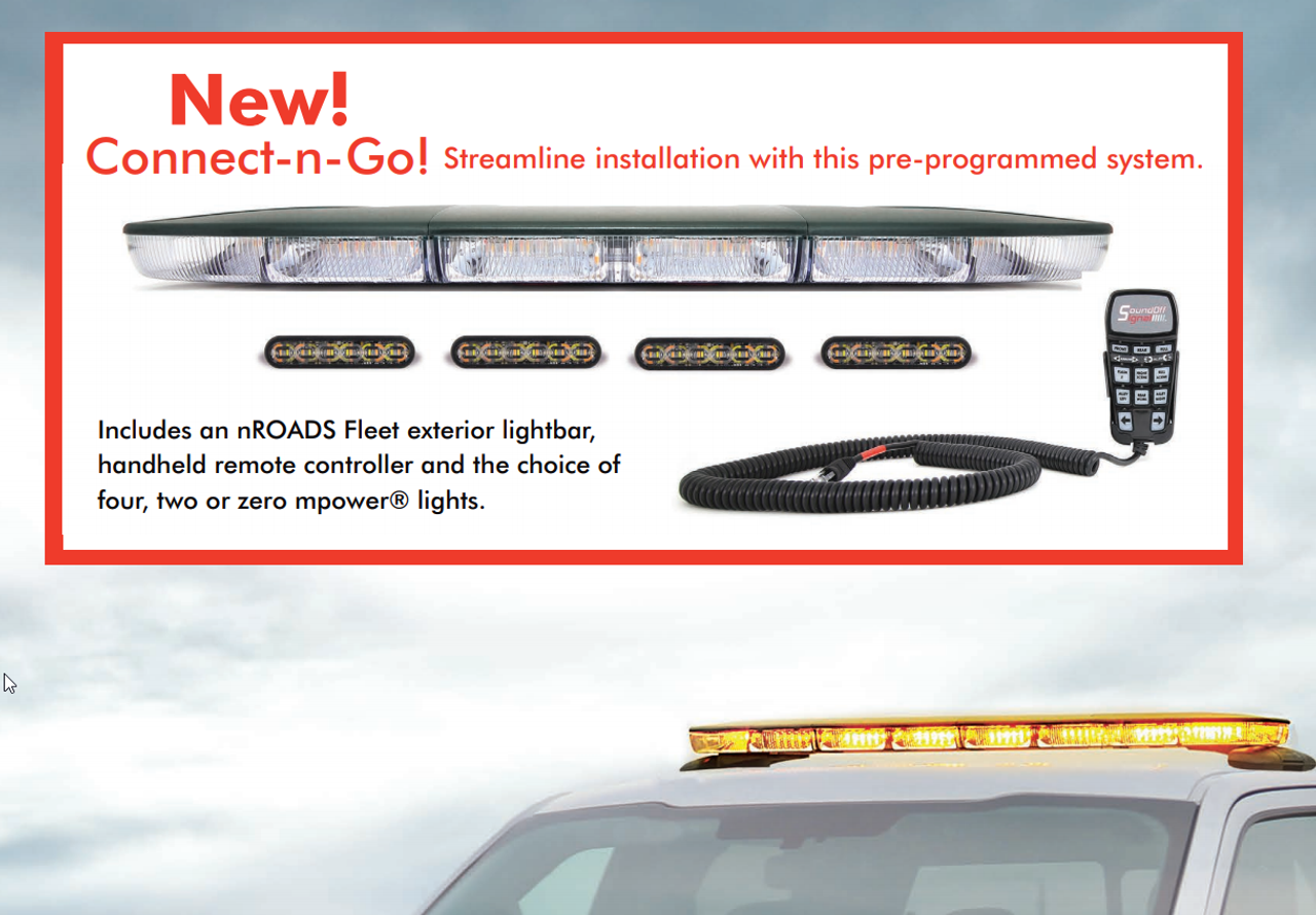 Soundoff nROADS LED Light Bar ENRLB, Dual Color, 2-colors per head, 48 or 54 inches, Easy Install with Cat5 Connection to Handheld Controller, available in Amber, Blue, Red, Green, White, No Alleys, Optional 4-inch mPOWER Light Heads
