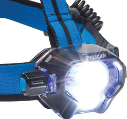 Pelican USB Rechargeable LED Headlamp with Pivoting Head and Rear Mounted Red LED, 558 lumens, 3 interchangeable Covers (Black, White, Photoluminescent) 2780R