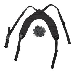 BLACKHAWK VERSA-HARNESS™ HOLSTER/ACCESSORY PLATFORM, Injection-molded multi-position mounting disk with mounting plate and five-position hole pattern, Ergonomic aero foam shoulder harness, Nylon webbing with quick-detach buckles, 44CH00BK