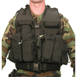 BLACKHAWK D.O.A.V. ASSAULT VEST SYSTEM, Constructed of durable nylon mesh for maximum breathability, Belt loops secure vest to web belt, Shoulder D-rings for accessory attachment, Black, 30DV00BK