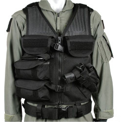 BLACKHAWK OMEGA ELITE™ CROSS DRAW/EOD VEST, Constructed of durable nylon mesh, Two Large internal zippered accessory pockets on both front panels, Two hook and loop strips for ID patch and four large utility pouches, Black, 30EV25BK