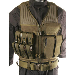 BLACKHAWK OMEGA ELITE™ OPERATOR VEST - 40MM/RIFLE, Constructed of durable nylon mesh, includes three mag pouches with adjustable flaps for short and tall magazines and eight 40mm pouches, Olive Drab, 30EV29OD