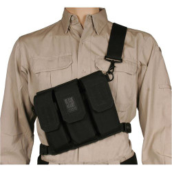 BLACKHAWK 55SOS1BK RIFLE BANDOLEER, Holds Six M16/M4 Magazines, Ambidextrous Shoulder Rig with Non-Slip Pad, Stabilizing Quick-Release Waist Strap, Black