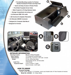 Jotto Desk Chevy Tahoe 2015+ Wide Body Contour Law Enforcement Console with Integrated Pentax Brother Printer, includes faceplates and filler panels