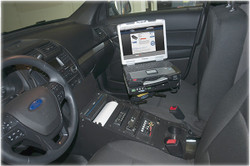 Jotto-Desk Ford Law Enforcement Interceptor SUV Utility Explorer Equipment Console 2013-2019 Integrates a Pentax Brother PocketJet 6 Thermal Printer, includes faceplates and filler panels