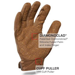 IronClad EXO Tactical Coyote Tan Grip Glove with DIAMONDCLAD® Silicone Fused Palm and Index Finger