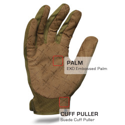 IronClad EXO Tactical OD Green Pro Glove with Suede Cuff Puller