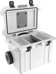 Pelican 55QT Tailgater  Wheeled Cooler with Heavy Duty Wheels and Press and Pull Latches, includes 2 trays, Available in White, 30x21x21, 53 lbs (55QW)