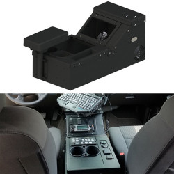 Gamber Johnson 7170-0567-01 Low Profile Wide Body Universal Console includes Cup Holder, Pocket and Armrest Kit, with optional Floor Plate, includes faceplates and filler panels