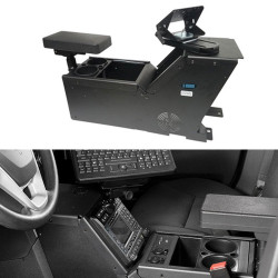 Gamber Johnson 7170-0166-06 Ford PI Utility, 2013-2019, console box with cup holder, armrest and TS5 motion attachment kit, includes faceplates and filler panels