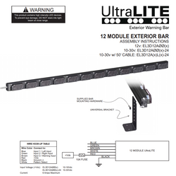 SoundOff Signal UltraLITE 12 Module Exterior Warning Mini LED light Bar, Solid Color per light head  or Split Color per light head on green EL3D12A00
