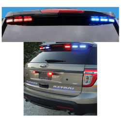 Code-3 Citadel™Rear Spoiler Warning and Traffic Advisor (capable) Light Bar for FPIU 2013-2019 & 2020 Ford Law Enforcement Interceptor PI Utility SUV (Explorer) with MegaThin 12-LED Multi/Dual color lightheads, includes flex controller ULT6-DC-FI