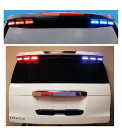 Code-3 Citadel™Rear Spoiler Light Bar (2000-2019 Chevy Tahoe) MegaThin 12-LED Multi/Dual color lightheads, with flex controller for ArrowStik Functionality ULT6-DC-TH