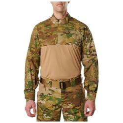 5.11 Tactical MEN'S 5.11 STRYKE® TDU® RAPID MULTICAM® LONG SLEEVE SHIRT,  87% polyester / 13% Spandex, Moisture wicking, snag resistant, Badge tab and epaulette kit included, Regular Fit, 72481169