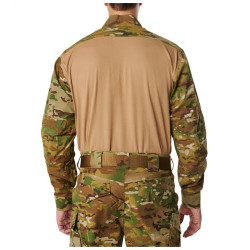 5.11 Tactical 72481T MEN'S 5.11 STRYKE® TDU®, Tall Fit, Pullover, Long Sleeve Baselayer Uniform Shirt, 87% polyester / 13% Spandex, 1/4 Zip, Badge tab, Sleeve Pocket, Tan/MultiCam
