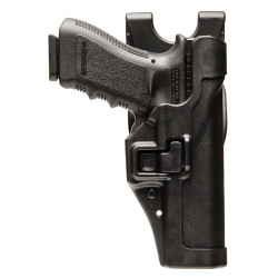 BLACKHAWK SERPA® LEVEL 2 DUTY HOLSTER, FEATURING AUTO-LOCK™ TECHNOLOGY, Full-length holster body protects rear sights, Includes unique Jacket Slot Duty Belt Loop to attach to belt, 44H0