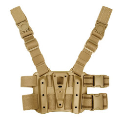 BLACKHAWK TACTICAL HOLSTER PLATFORM, Y-harness suspension system distributes weight evenly, keeps holster vertical and allows use of pocket, Quick-disconnect swivel buckles for quick holster mounting and dismounting, Rubberized leg straps, 432000P