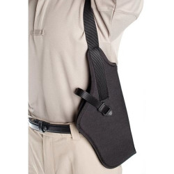 BLACKHAWK NYLON VERTICAL SHOULDER HOLSTER - WITH SCOPE, Constructed of 1000 denier CORDURA® nylon outer material and waterproof closed-cell foam padding, Adjustable, non-stretch retention strap with molded finger break, Black, 40SV