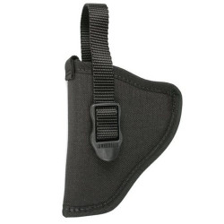 BLACKHAWK NYLON HIP HOLSTER, Constructed of 1000 denier CORDURA® nylon outer material, Smooth nylon lining for easy draw, Adjustable retention strap with non-glare snaps, Black, 73NH