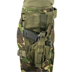 BLACKHAWK 40XP00 NYLON SPECIAL OPERATIONS HOLSTER, Elastic, rubberized leg straps for stability and comfort, Adjustable thumb break for quick draw, Top flap covers pistol for maximum weapon retention, Olive Drab