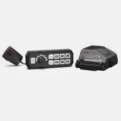 Feniex Industries TYPHOON FULL FUNCTION Siren and Light Controller, features 6 programmable backlit buttons, a PA/microphone, and 23 Law Enforcement and fire tones with rotary dial selection, C-6017