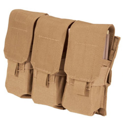 BLACKHAWK 37CL106 TRIPLE MP-5 MAG POUCH - MOLLE, Reversed-opening lids, Grommets for drainage, Holds three magazines