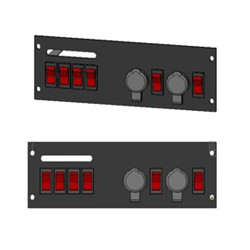 Brooking Industries SP-4SW2O 4 Rocker Switches w/ Two 12V Outlets, Durable, powder-coated Steel Plate