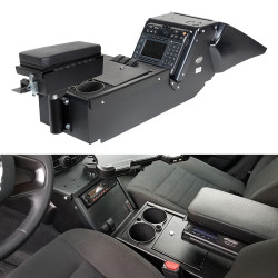 Gamber Johnson 7170-0137-02 Dodge Charger Law Enforcement Package (2011+) Console Box with Cup Holder and Printer Armrest Kit, includes faceplates and filler panels