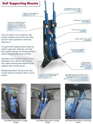 Gun Rack for Police Vehicles by Progard between Bucket Seats Vertical Mount G7000 Single or Dual