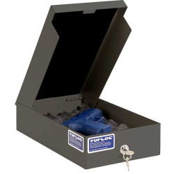 Tufloc TUF-WALL Wall Storage Lock Box, 3x8x14, Available with combination lock or key lock, made of powder-coated steel