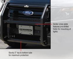 Go Rhino Push Bar Brush Guard for Ford Police Interceptor Utility SUV (Explorer)  Heavy Duty Wrap Around, 2013-2019