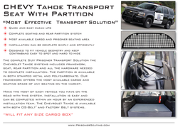 Features of the 2015 Tahoe Prisoner Transport Seats