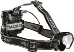 Pelican LED Headlamp, 4 AA Batteries Included,  With Dual Beams and Rear Mounted Red LED, Available in Black or High Visibility Yellow 2785