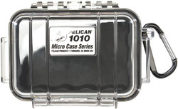 Pelican 1010 Micro Case with Carabiner - Waterproof, Crushproof, and Dustproof, clear with optional color liner or solid, Available in Black, Blue, Red, or Yellow, 8x7x6,  3 lbs