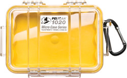 Pelican 1020 Micro Case with Carabiner - Waterproof, Crushproof, and Dustproof, clear with optional color liner or solid, Available in Black, Blue, Red, or Yellow, 10x7x8, 4 lbs