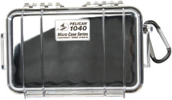 Pelican 1040 Micro Case with Carabiner - Waterproof, Crushproof, and Dustproof, clear with optional color liner or solid, Available in Black, Blue, Red, or Yellow, 11x7x8,  5 lbs