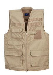 Propper® Men's Tactical Vest, 65% polyester 35% cotton lightweight ripstop w/Teflon™fabric protector repels liquids and stains, 16 pocket design, available in black, khaki, and olive, F5427