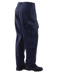 Tru-Spec TS-1283 Tactical Response Uniform Pants, Polyester/Cotton Rip-Stop, Two easy access slanted cargo pockets with drain holes, Improved heavy drawstring leg ties, available in navy, olive drab, khaki and black